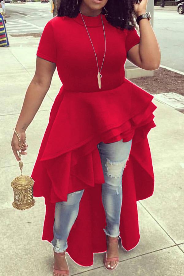 Elegante collar de mandarín asimétrico Falbala diseño de color rojo de poliéster medio vestido de pantorrilla