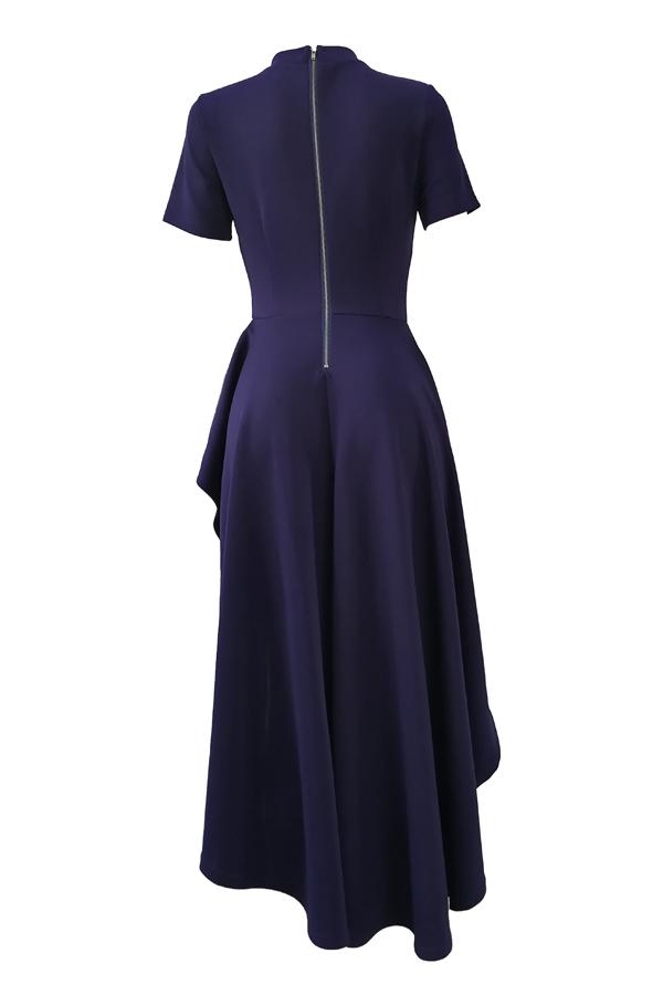 Stilvolles Mandarine-Kragen asymmetrisches Falbala Design Blaues Polyester-mittleres Kalb-Kleid