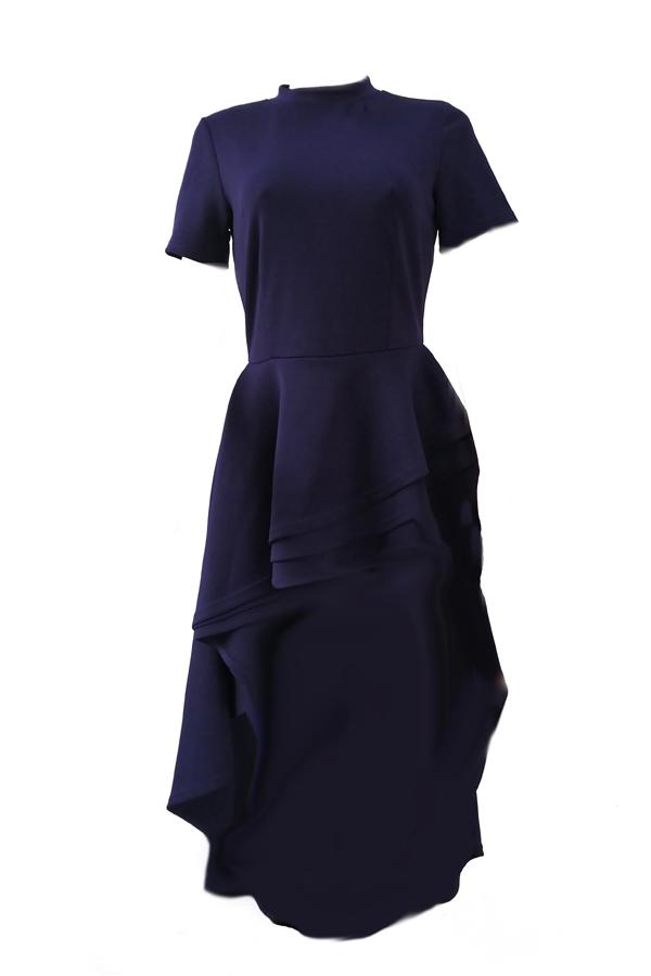 Elegante collar de mandarín asimétrico Falbala diseño azul poliéster medio vestido de pantorrilla