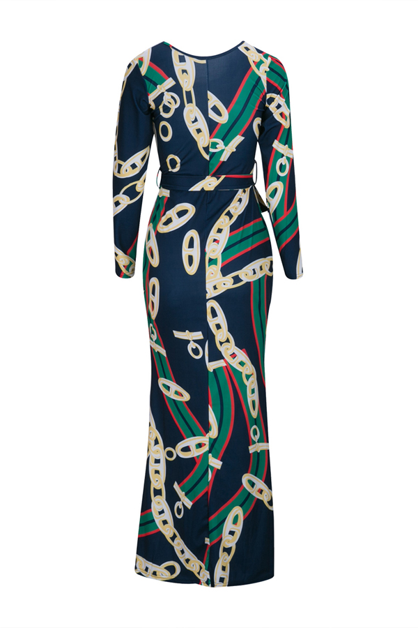 Trendy Round Neck Chain Printed Healthy Fabric Ankle Length Dress