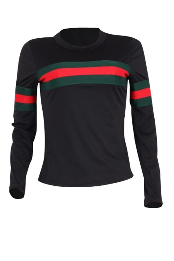 T-shirt in cotone nera con patchwork a righe a collo rotondo