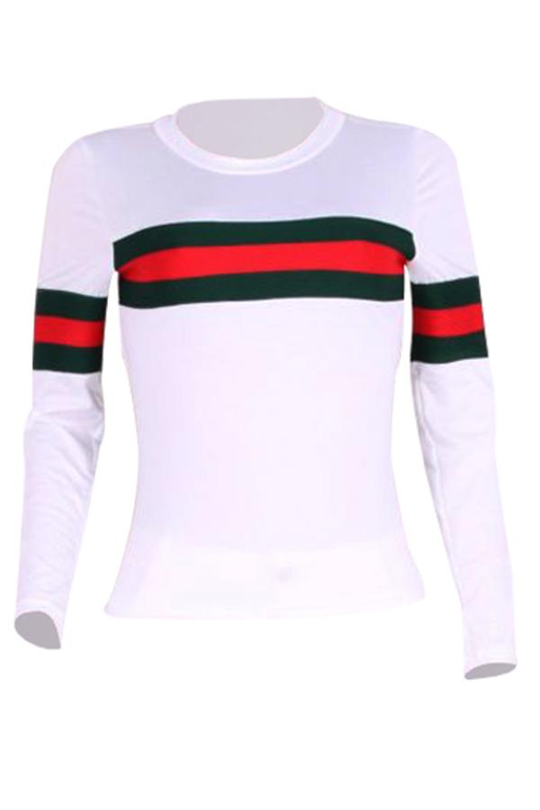 Leisure Round Neck Striped Patchwork White Cotton T-shirt