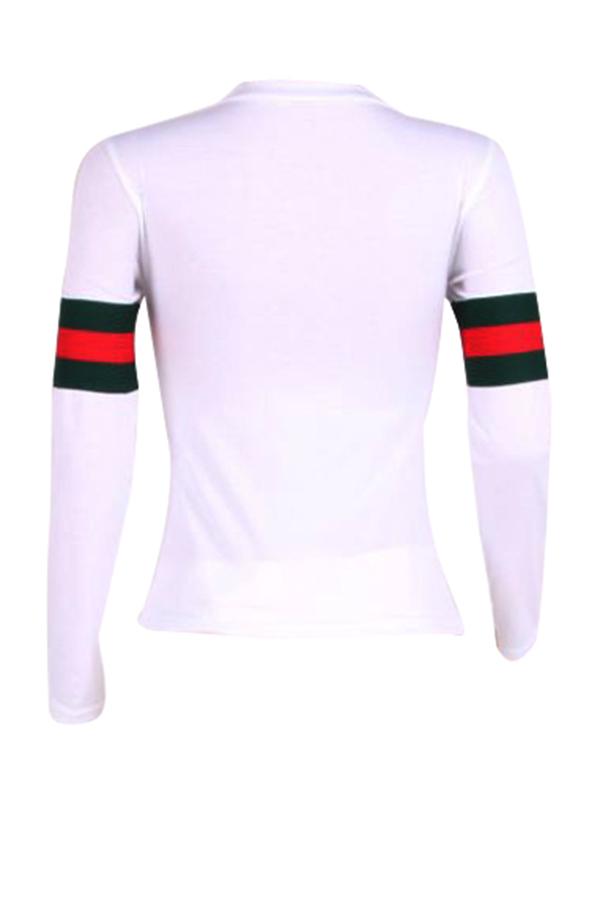 Отдых круглый шеи полосатый Лоскутная Белый хлопок T-рубашка