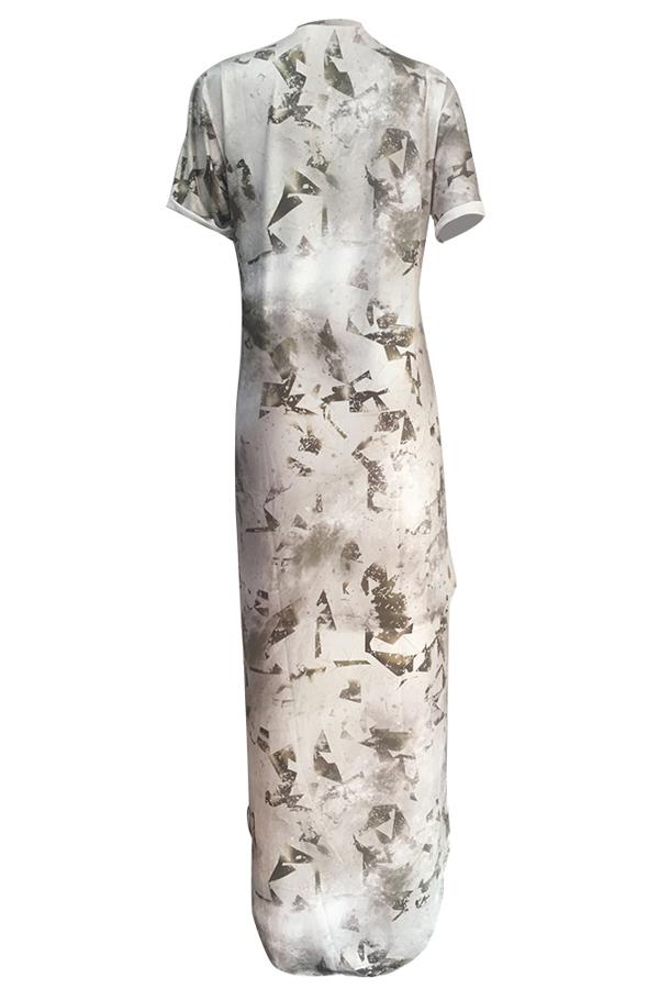 Trendy Printed Asymmetrical Lek Fiber Ankle Length Dress