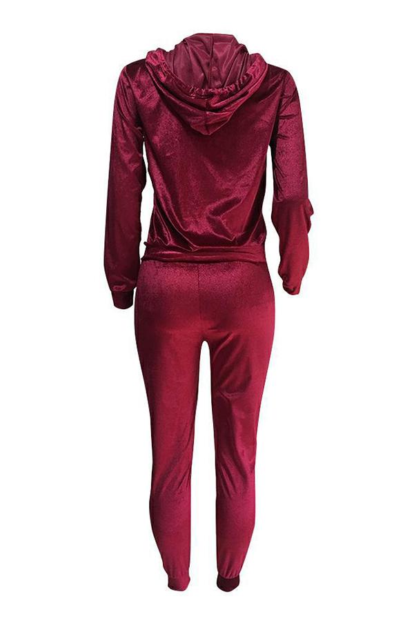 Euramerican Turndown Cuello Cremallera Diseño Vino Terciopelo Rojo Dos Piezas Conjunto