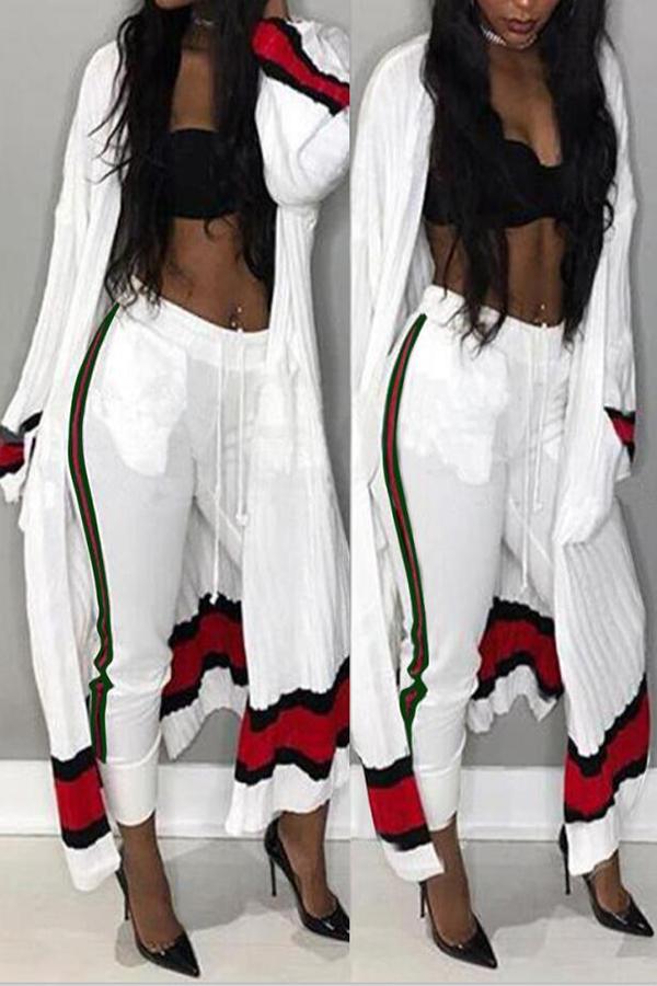 Euramerican Striped Patchwork Pantalones De Dos Piezas De Poliéster Blanco (sin Sujetador)