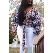 Fashion Printed Puff Sleeve Blouse