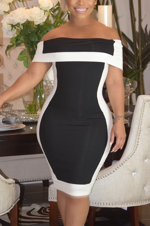 Lovely Euramerican Patchwork Black Polyester Sheath Mini Dress