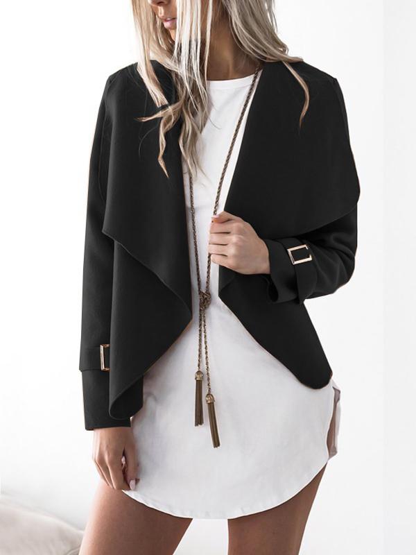 Euramerican Turndown Collar Long Sleeves Asymmetrical Black Polyester Jacket