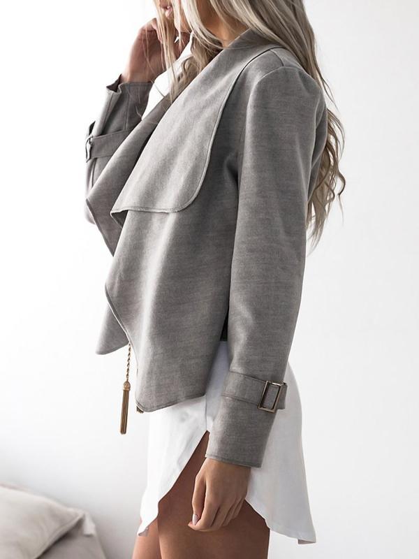 Euramerican Turndown Collar Long Sleeves Asymmetrical Grey Polyester Jacket