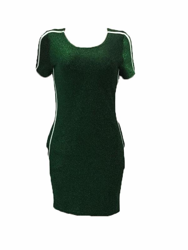 Leisure Round Neck Patchwork Green Polyester Sheath Mini Dress
