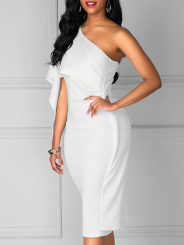 Trendy One Shoulder Asymmetrical White Cotton Blend Sheath Mid Calf Dress