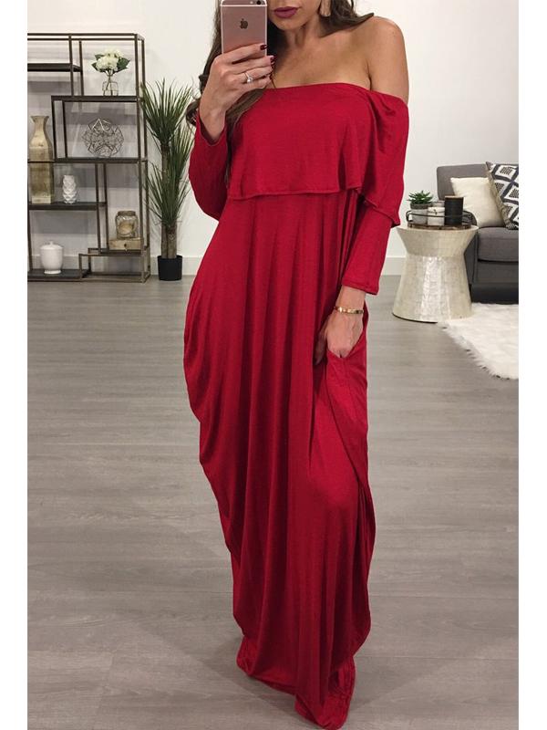 Мода плесень плеча Falbala дизайн вина красный хлопок смесь лодыжки длина платье