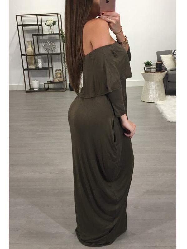 Falda De Rocío De La Moda Hombro Falbala Diseño Vestido De Mezcla De Algodón Gris-verde De Longitud Tobillo