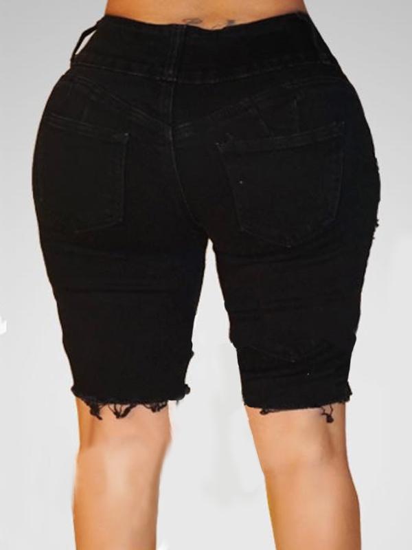 Trendy High Waist Broken Holes Black Cotton Blends Shorts