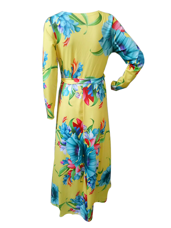 Fashion V Neck Printed Yellow Healthy Fabric Ankle Length ...