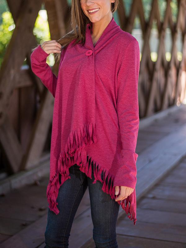 Trendy Turndown Collar Long Sleeves Asymmetrical Rose Red Cotton Cardigans