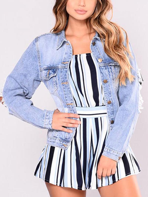 Fashion Turndown Collar Long Sleeves Broken Holes Light Blue Denim Short Coat
