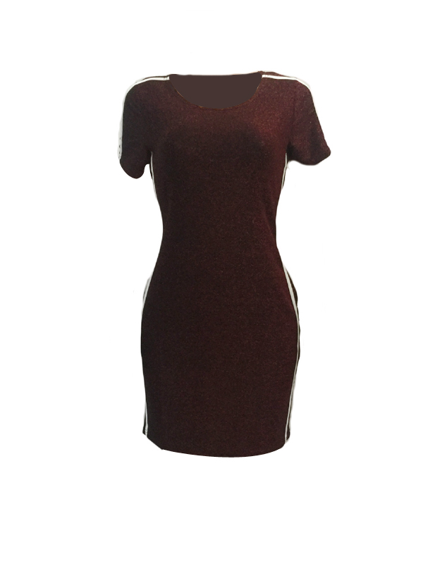 Leisure Round Neck Patchwork Wine Red Polyester Sheath Mini Dress