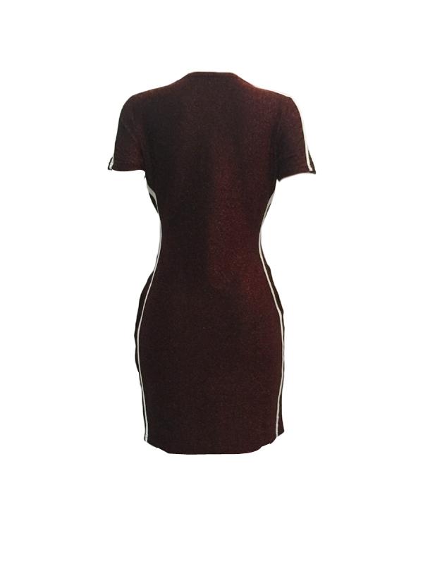 Leisure Round Neck Patchwork Wine Red Polyester Sheath Mini Dress