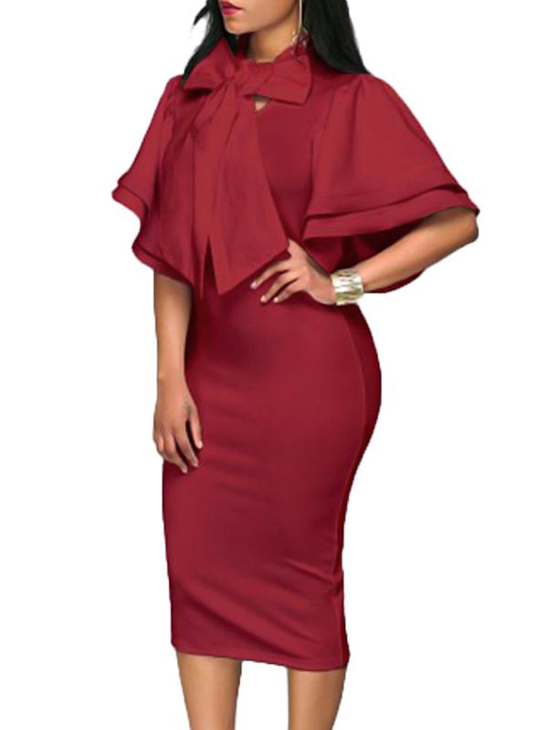 Trendy V Neck Half Sleeves Bow-tie Decoration Red Cotton Sheath Knee Length Dress Dresses <br><br>