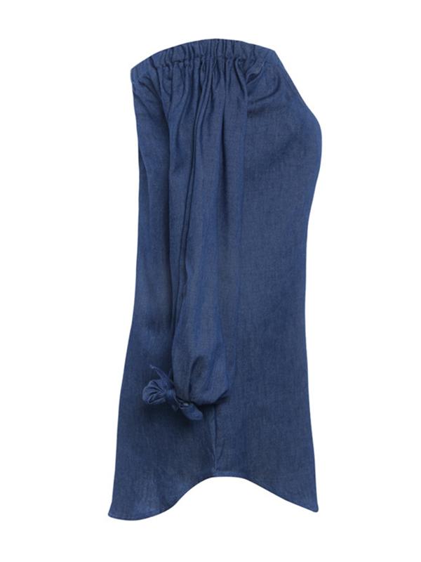 Vestido de algodón de color azul oscuro