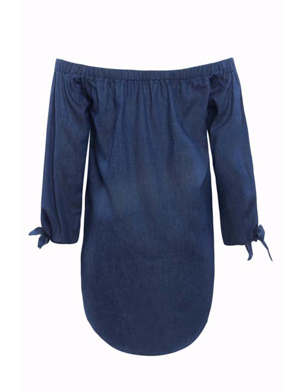 Trendy Dew Schulterknopf Dekoratives dunkelblaues Denim Mini Kleid