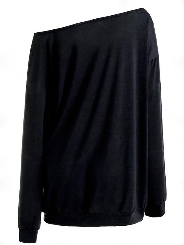 Casual Dew Shoulder Skull Print Black Cotton Tops
