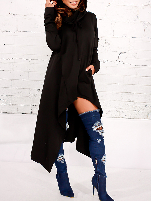 Leisure Heaps Collar Asymmetrical Black Cotton Blends Pullovers