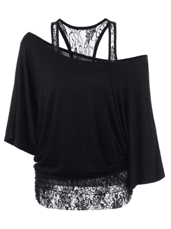 Trendy Dew Shoulder Lace Combination Black Cotton Tops