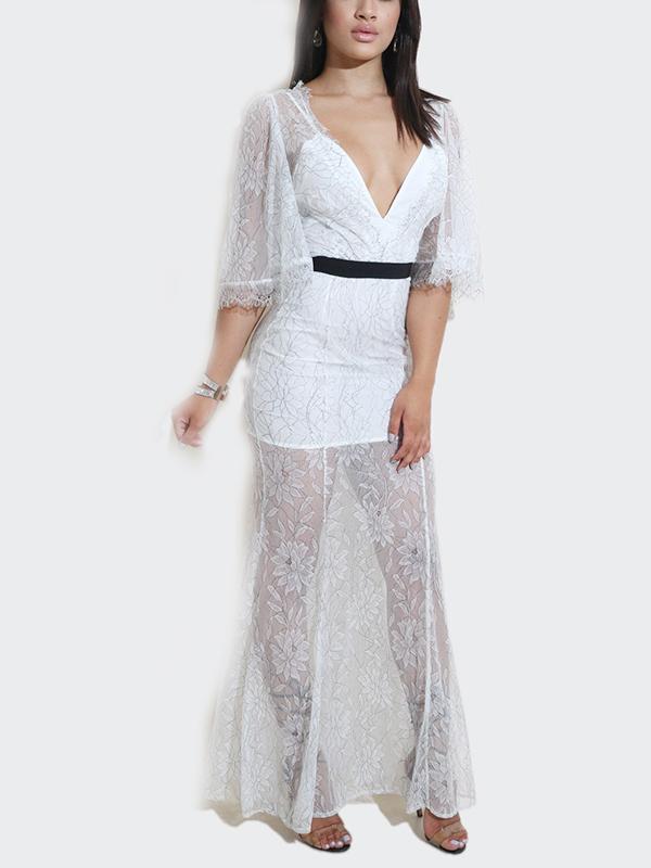Sexy cuello en V transparente hasta el tobillo de encaje blanco vestido (sin forro)
