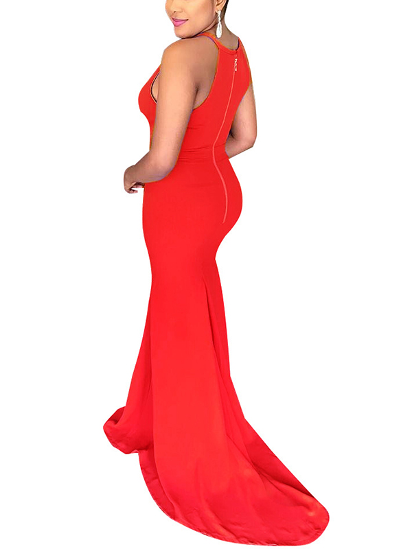 Sexy Round Neck Hollow-out Red Polyester Floor Length Dress