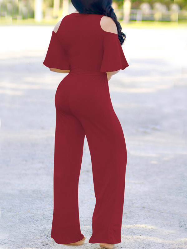 Euramerican Hollow-out Wine Red Polyester One-piece Jumpsuits