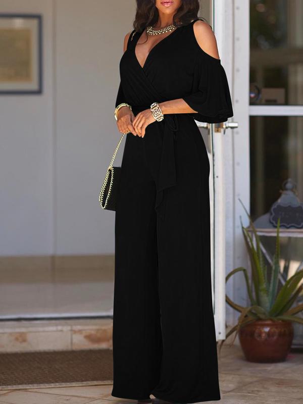 Euramerican Hollow-out Black Polyester Jumpsuits de uma peça