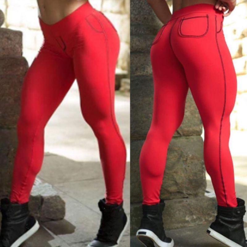 Leisure Mid Waist Patchwork Red Cotton Blends Leggings