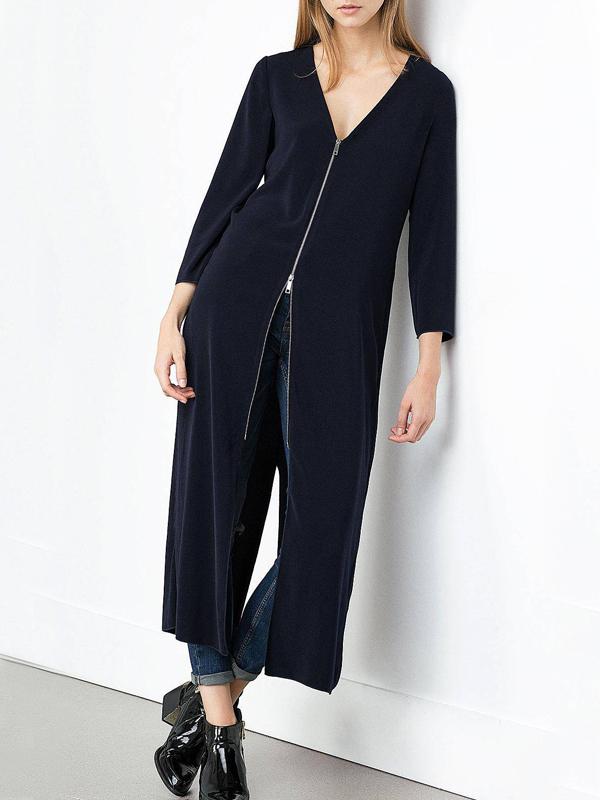 Fashion V Neck Long Sleeves Zipper Design Black pandex Long Coat