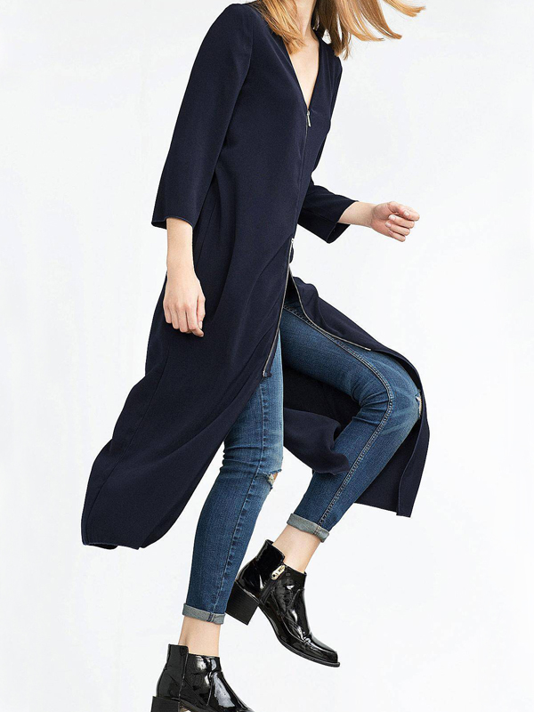 Мода V шеи Длинные рукава Молния Дизайн Черный пандекс длинное пальто
