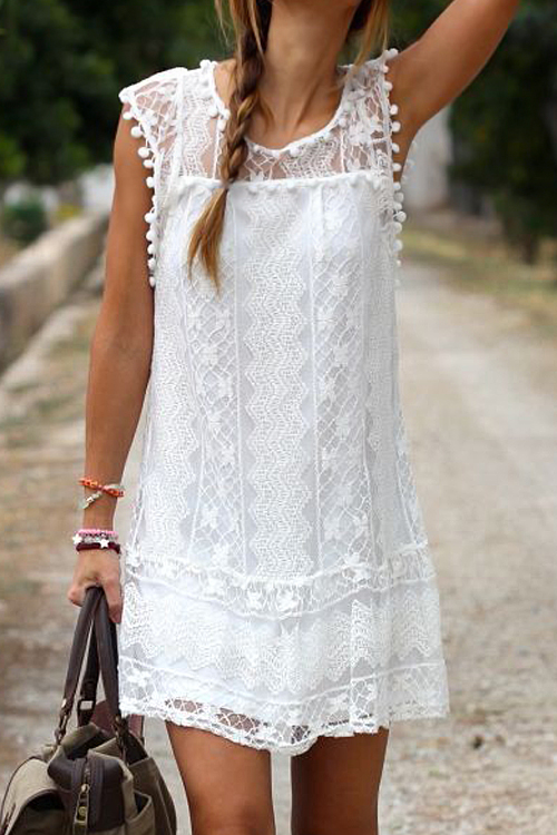 Lovely Lace Fashion O neck Cap Sleeve Sleeveless A Line Mini Dresses(