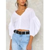 Stylish V Neck White Cotton Shirts