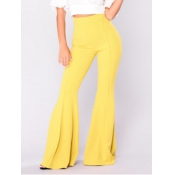Polyester Solid Elastic Waist High Regular Pants P