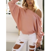 Stylish Round Neck Long Sleeves Pink Cotton Pullovers
