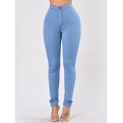 Pantalons Denim Skyblue de haute taille à la mode