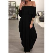 Mode Tau Schulter Falbala Design Schwarz Baumwolle Blend Knöchel Länge Kleid