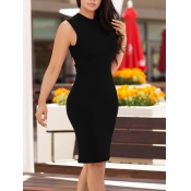 Polyester Sexy O neck  Sleeveless Sheath Knee Leng