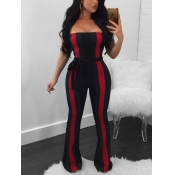 Trendy Dew Shoulder Striped Patchwork Black Polyester One-piece Jumpsuits(With Belt)
