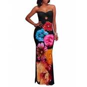 Trendy Dew Shoulder Floral Print Black Polyester Sheath Ankle Length Dress