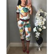 Stilvolle Rundhals Ananas bedruckte weiße Strickerei Zweiteilige Hose Set