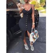 Sexy V Neck Single-breasted Design Black Polyester Sheath Mid Calf Dress