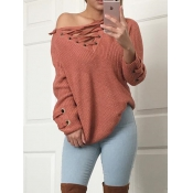 Leisure V Neck Long Sleeves Drill Red Acrylic Swea