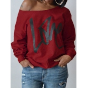 Lovely Leisure Round Neck Long Sleeves Letters Printing Purplish Red Sweatshirt Hoodie